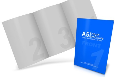 A5   A4 Tri Fold Brochure Mockup   Cover Actions Premium   Mockup     A5 Roll Fold Brochure Mockup