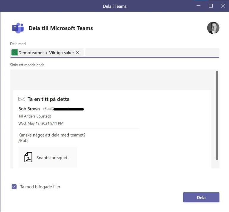 Bild som visar val av team och kanal för att dela e-post till Teams.