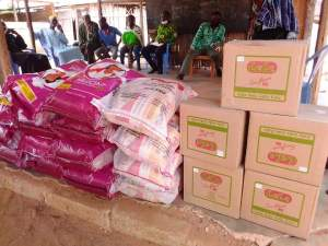Hon. Wisdom Korbla Mensah Woyome supports Moslems with assorted food stuffs in his constituency