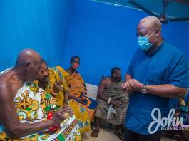 John Dramani Mahama speaking to the Chiefs and Elders of Amantin in the Bono East Region