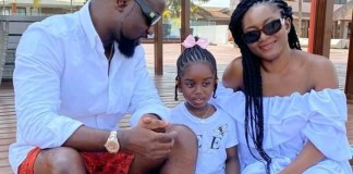 Sarkodie with his child and wife