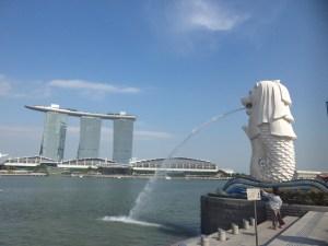 Singapore Merlion park and Marina Bay Sands
