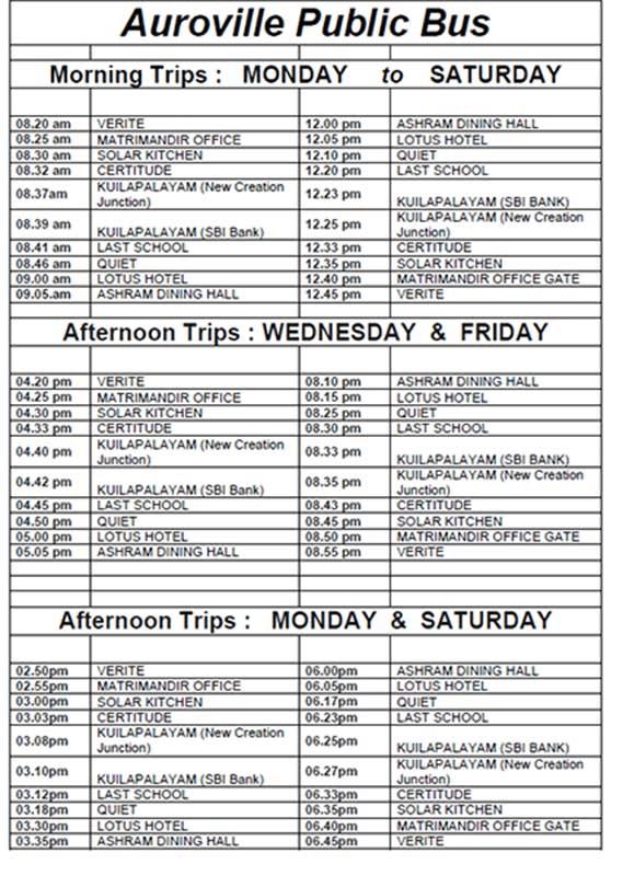 Auroville Public Bus Timetable 2019