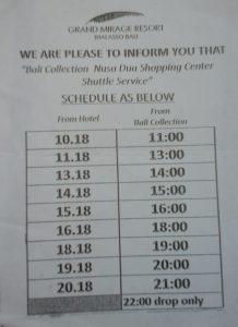 Grand Mirage Resort - free shuttle schedule to Nusa Dua Shopping Complex, Bali
