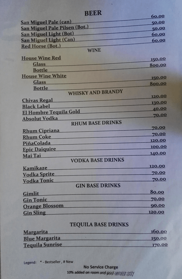Venia's Kitchen, Loboc River resort, Bohol drinks menu