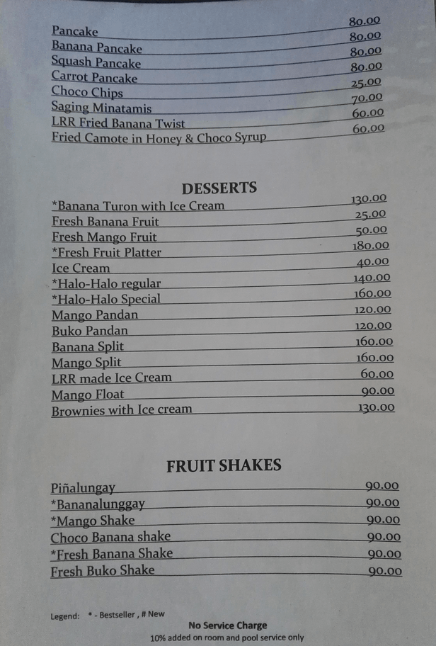 Venia's Kitchen, Loboc River resort, Bohol dessert menu
