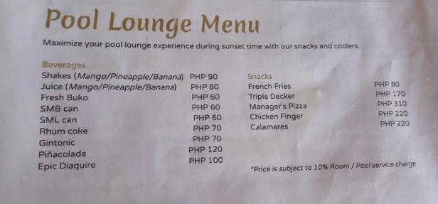 Pool menu