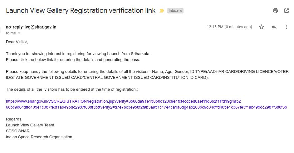 Registration verification email