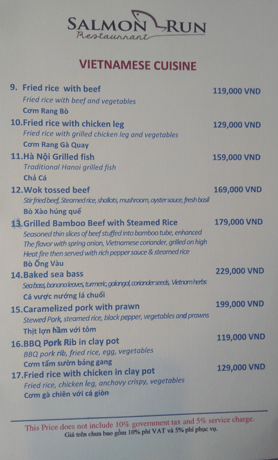 Vietnamese menu - Salmon run, Hanoi Antique Legend