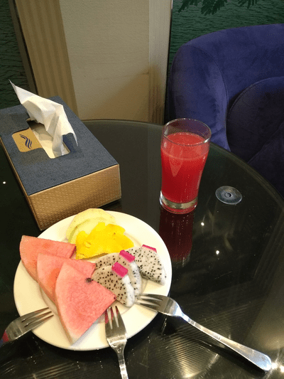 Welcome fruit and juice at Hanoi Antique Legend Hotel