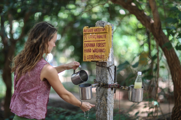 Hand Washing station at Sadhana Forest, Auroville
