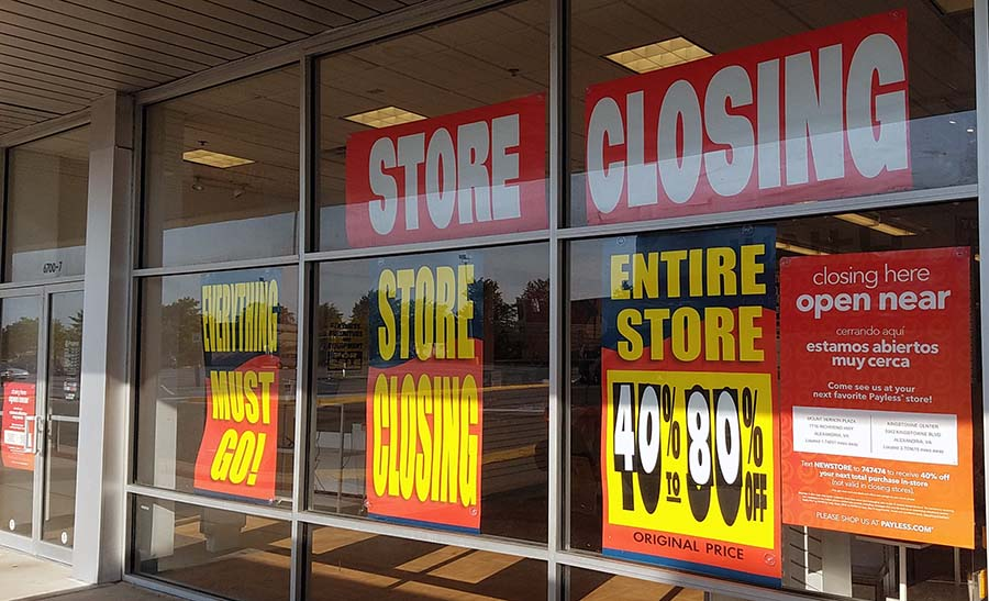 Store closing signs