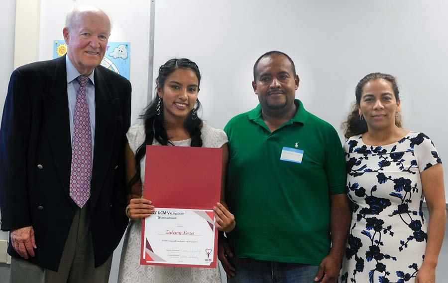 Valencourt recipient and family