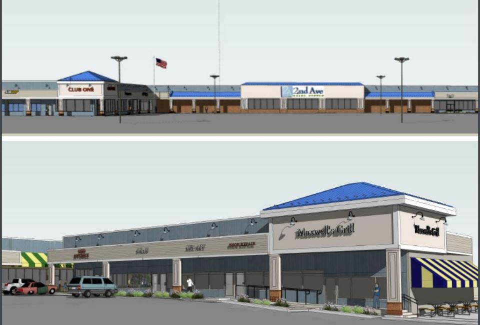 Artist images of upgraded shopping center