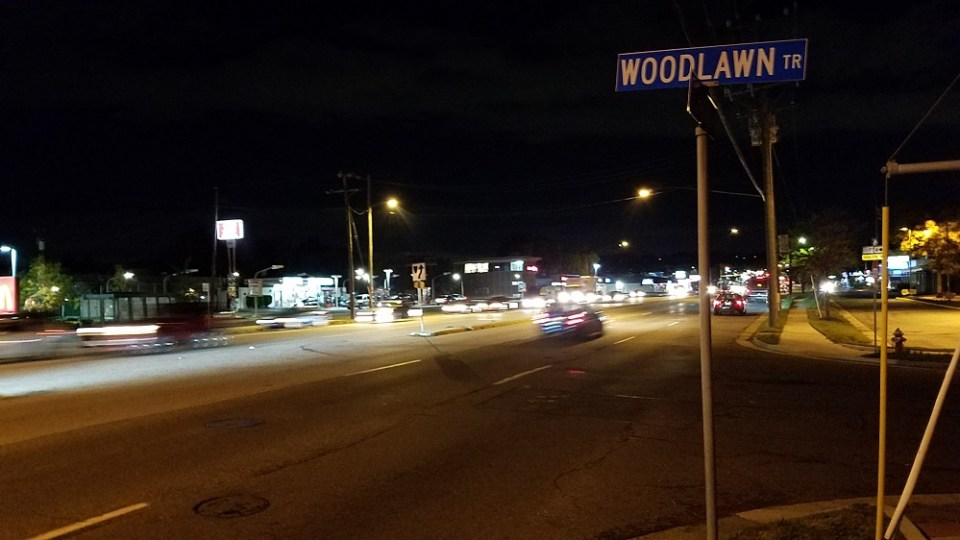 Richmond Highway and Woodlawn Trail at night