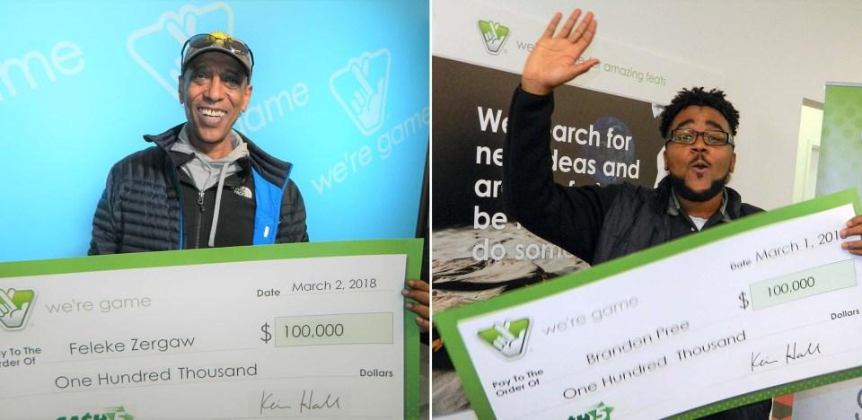 Men holding lottery checks