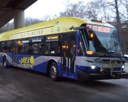 REX bus leaving Huntington