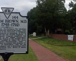 historic marker next to church