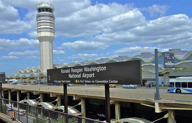 Reagan National Airport sign in front of station