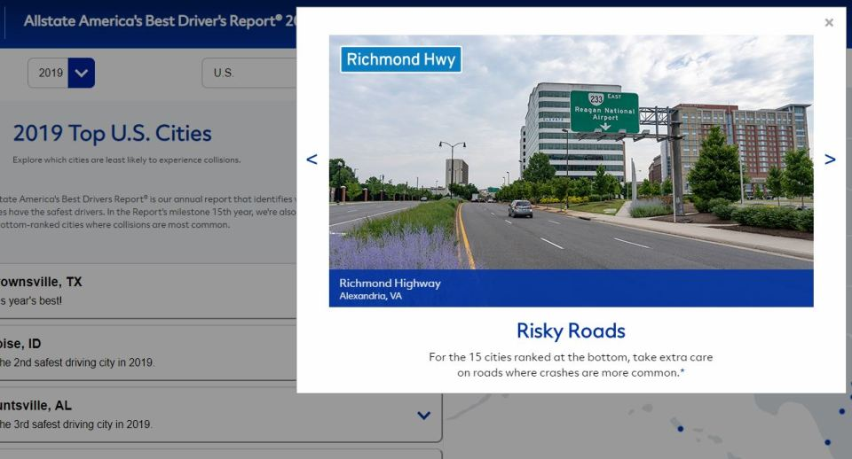"Screenshot showing Richmond Highway in Arlington with caption that says ""Alexandria, VA"""