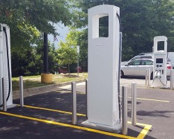 Electric charging station in a parking lot