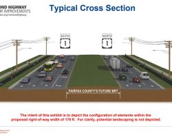 Slide showing VDOT's drawing of a cross-section of RIchmond Highway