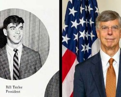 Side-by-side images of Taylor, one at Mount Vernon and one from todayo