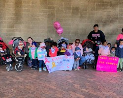 Kids sitting in front of Inova Mount Vernon Hospital