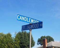 Street signs at intersection of Collingwood Road and Candlewood Drive