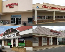 Composite picture of four businesses on closing list including Old Country Buffet, Cosmopolitan Grill, Kang's Market and Peking Duck