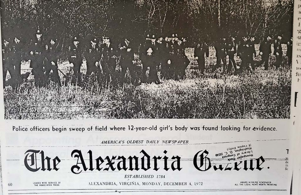 Front page of Gazette with large picture of police in field