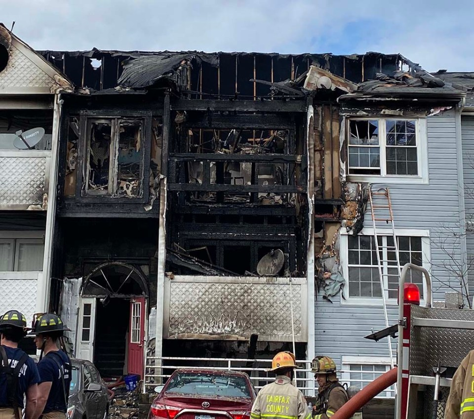 Burned building seen after fire was put out