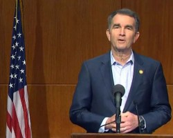Screenshot of Northam from press conference