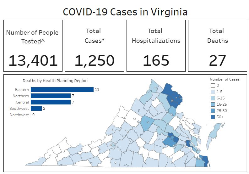 Map showing where cases are and state figures