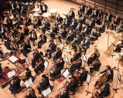 Shot of an orchestra from above