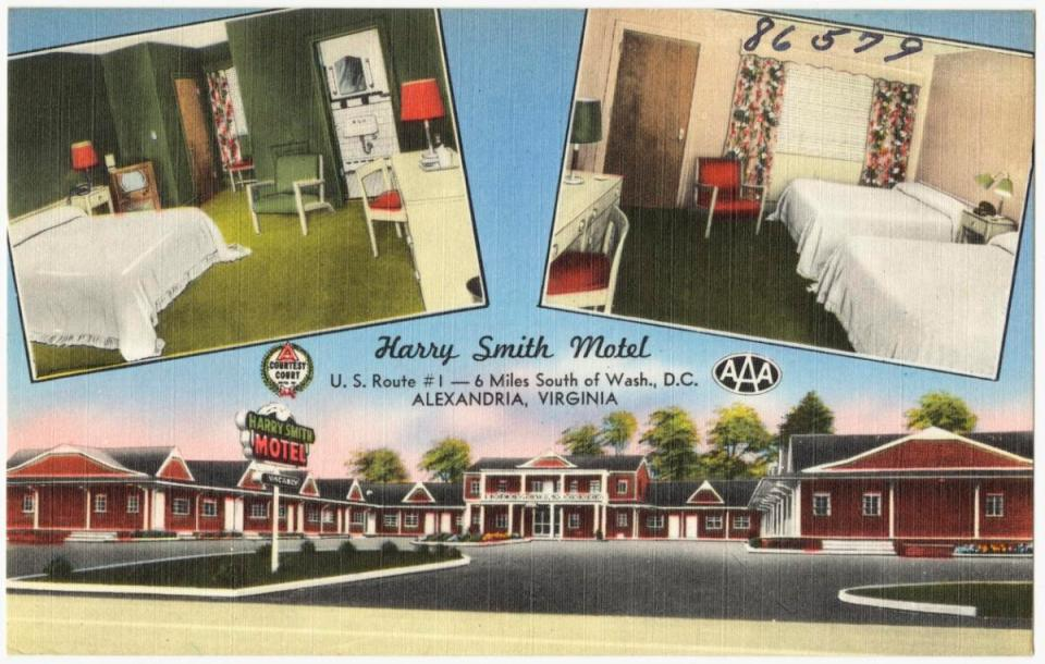 postcard showing harry smith motel