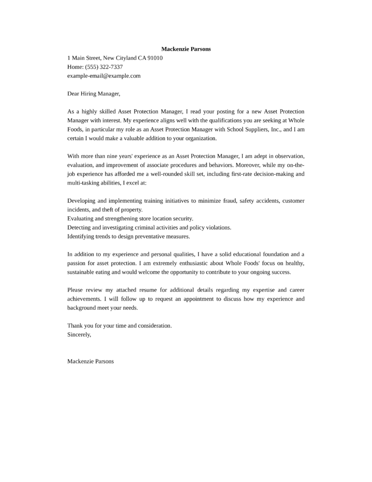 asset protection manager cover letter samples and templates ...