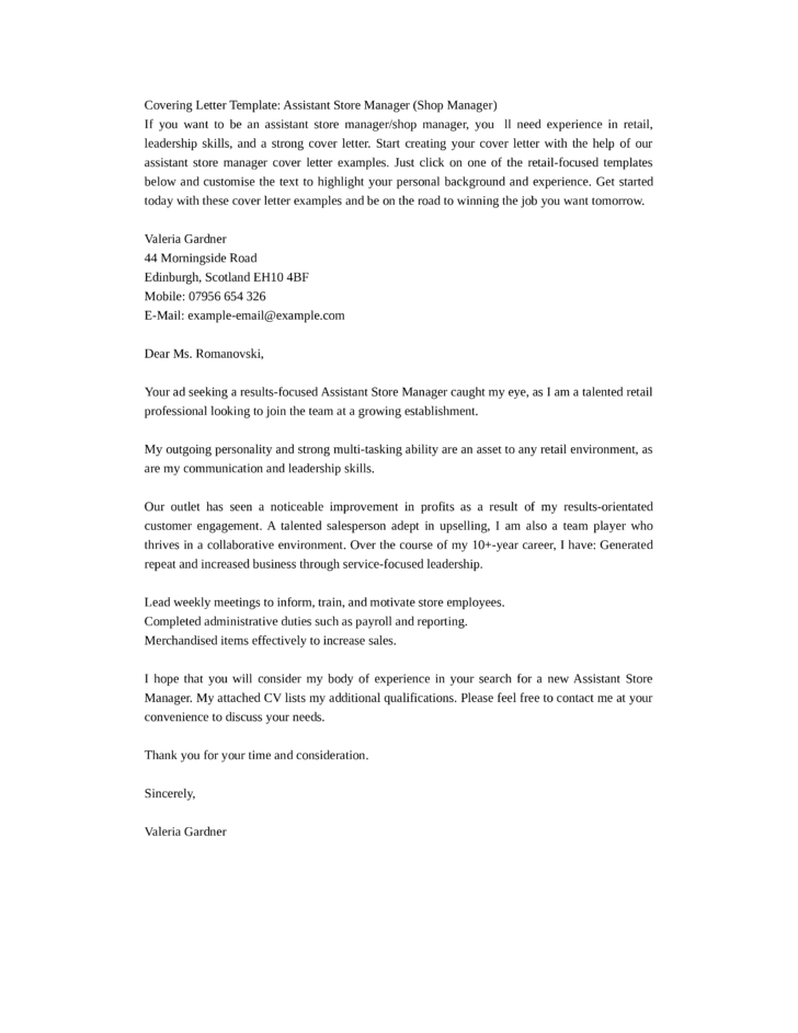 Resume For Retail Assistant Position. Cover Letters For Retail