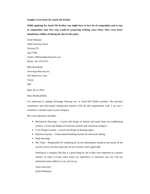 Cover Letter Draftsman Examples   Howtoviews.co