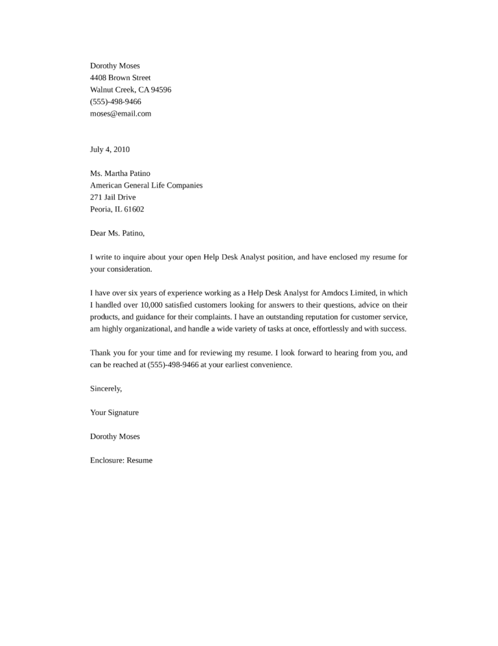 Help desk analyst cover letter templates