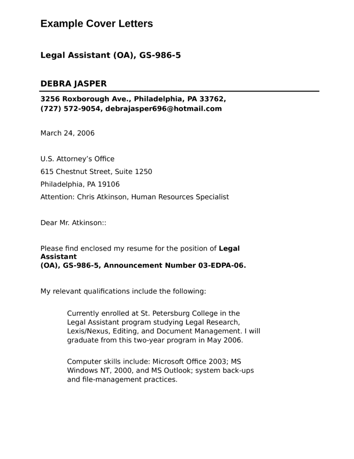 resume cover letter sample sample cover letter for legal secretary