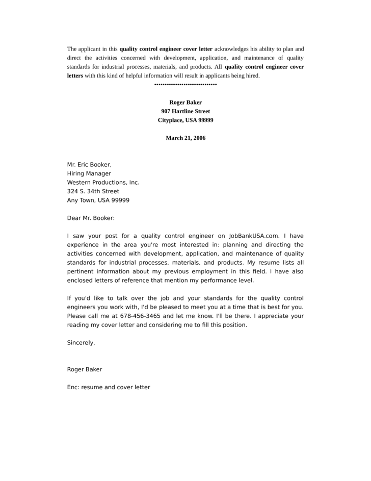 quality control engineer cover letter samples and templates