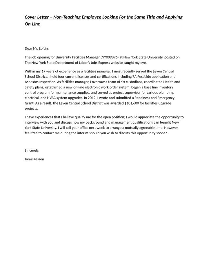 Facilities Manager Resume Cover Letter. arun veliyath gangaaddress ...