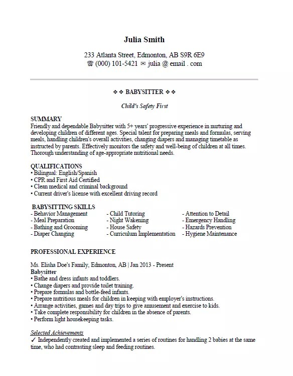 Babysitter Resume Sample Page 1