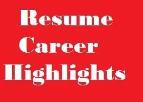 Resume Career Highlights Examples Clr