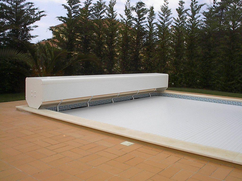 Volet de piscine électrique, volet hors-sol de piscine avec banc