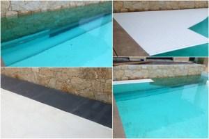 le volet immergé montage spécial avec la lame qui passe le long du mur de la piscine