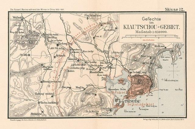 Landkarte des Kiautschou-Gebietes