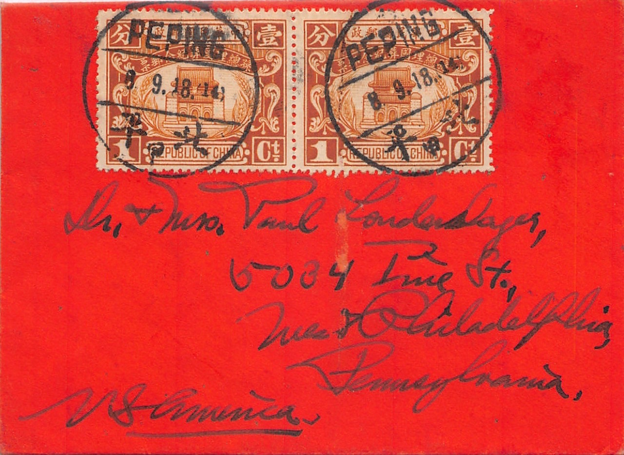 1929, Drucksache aus Peping (Peking) in die USA