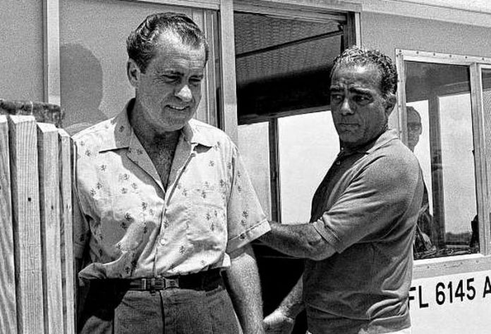 President Richard Nixon and his pal Bebe Rebozo in Key Biscayne, Fla., in 1969. A new book by a former White House reporter claims the two may have been lovers.